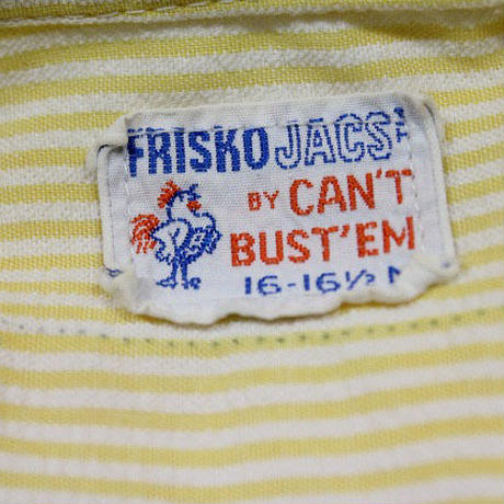 70's FRISKO JACS BY CAN'T BUST EM PullOver S/S Work Shirts (16-16 1/2) キャントバステム シアサッカー ハーフジップ ワークシャツ