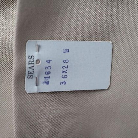 NOS 〜70's Sears Poly×Cotton Tapered Work Pants khaki(w36 L28) デッドストック シアーズ ポリ×コットン テーパード ワーク パンツ カーキ