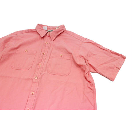 90's L.L.Bean Cool Wave Shirts MADE IN USA(XL) LLビーン   ショートスリーブシャツ ピンク系