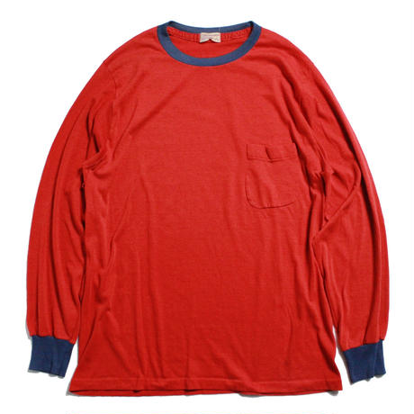 70's MUNSINGWEAR 2 Tone L/S T-Shirts with Round Pocket (L) 2トーン ポケットTシャツ ポケT 丸ポケ