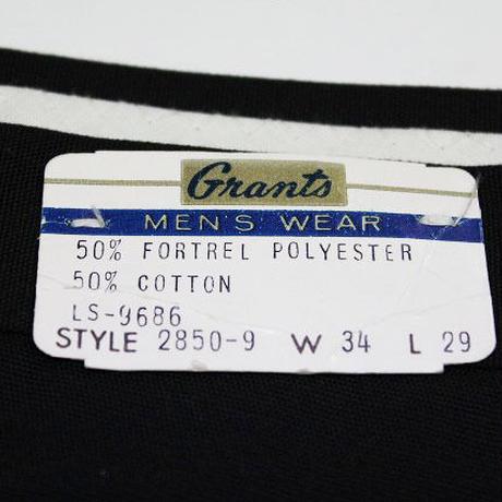 NOS 60's Grants Poly×Cotton Tapered Pants BLACK(w34 L29) デッドストック ポリ×コットン テーパード スラックス 黒