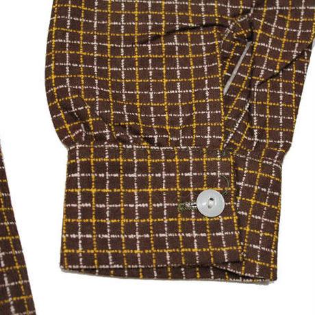 NOS 50's Sportswear PLAID COTTON PRINTED FLANNEL SHIRTS(S) デッドストック ループカラー チェック コットン プリントフランネルシャツ