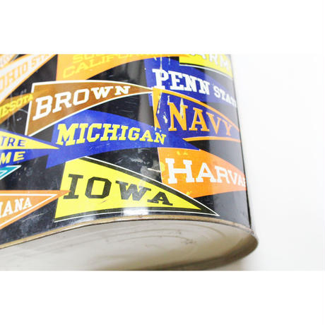 50's~60's COLLEGIATE PENNANTS RRINTED METAL WASTE CAN カレッジペナント ゴミ箱