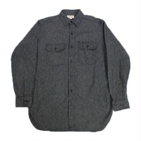 NOS 50's POWRHOUSE Black Chambray Shirt with Elbow Patch (16) ワンウォッシュ パワーハウス ブラックシャンブレーシャツ エルボーパッチ