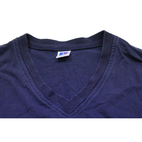 90's RUSSELL ATHLETIC V-Neck Cotton T-SHIRTS Navy (L) ラッセル Vネック コットン Tシャツ 無地  紺