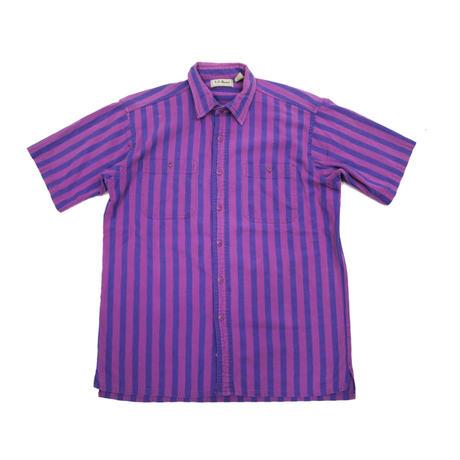 90's L.L.Bean Cool Wave Shirts MADE IN USA(M) LLビーン   ワイドピッチストライプ コットン ショートスリーブシャツ パープル系