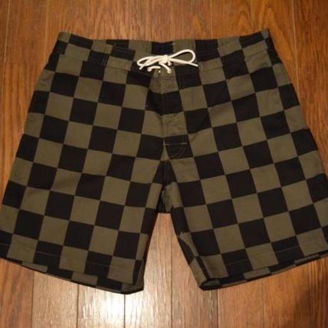『SD Checker Surf Shorts』 Olive/Black