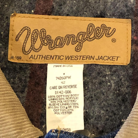 "80's〜90's  ""Wrangler""  デニムジャケット 裏ブランケット MADE IN USA"