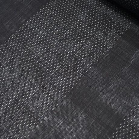 【在庫有り展示品】能登上布   着物反物 / 変わり蚊絣 経段 黒