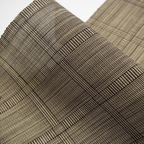 【在庫有り展示品】能登上布   八寸名古屋帯  /  網代二筋格子 茶