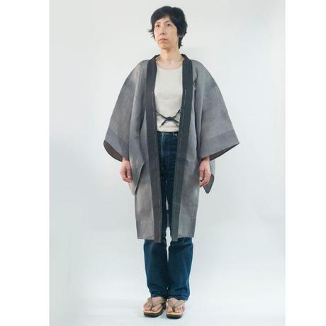 ハオリ(男性羽織)/ 無地襟縞 灰