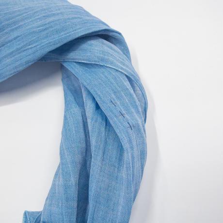 スカーフ 息吹 / 十字絣 青