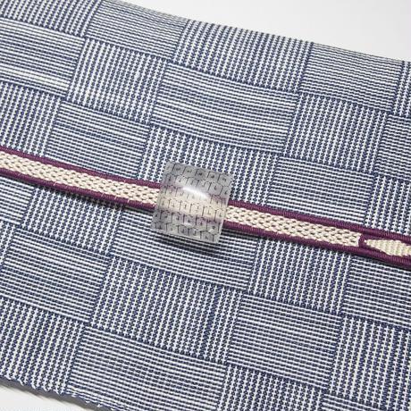 帯留 浮布〔clear cloth 〕/  四角  縞 薄灰