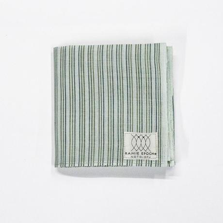 ハンカチ / 縞 白緑