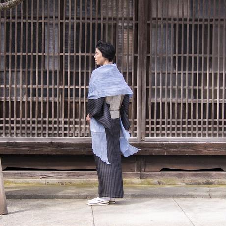 ストール 息吹 / 十字絣 濃渋緑 / XL