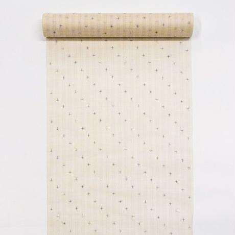【在庫有り展示品】能登上布  着物反物 / 斜め十字絣 生成 桜縞
