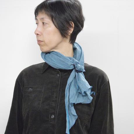 スカーフ 息吹 / 十字絣 濃渋緑