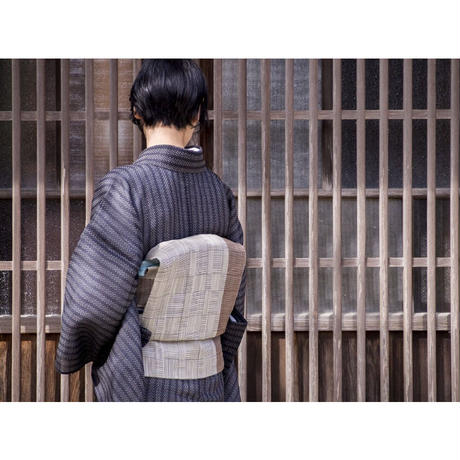 【在庫有り展示品】能登上布  着物反物 / 鰹縞 青