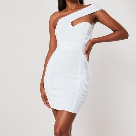 ホワイト・ブラック・レッド/ドレス ワンショルダー ミニドレス