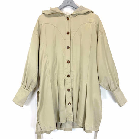 HOOD PLEAT SHIRT JACKET【WOMENS】