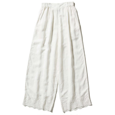 RAYON EMBROIDERY WIDE EASY PANTS  【WOMENS】