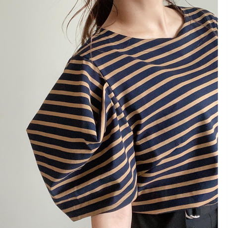pullover<navy×camel>