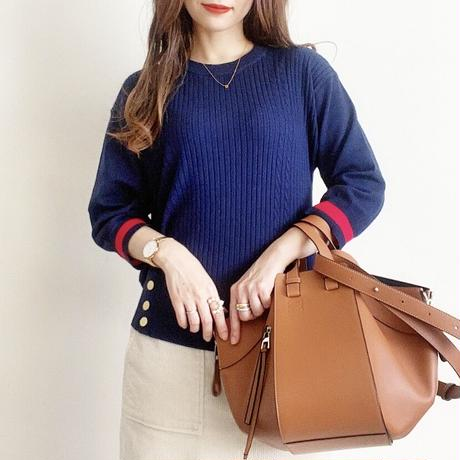 knit pullover(navy×red)