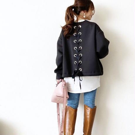 lace up blouson(black)