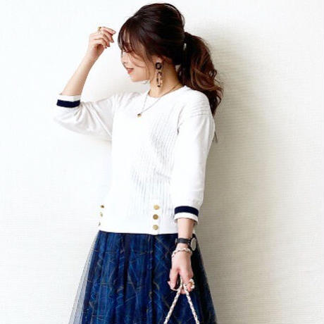 knit pullover(white×navy)