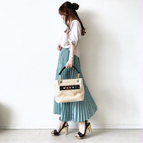 stripe pleats skirt〈green〉