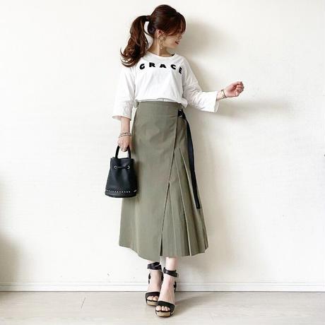 side pleats wrap skirt (khaki)