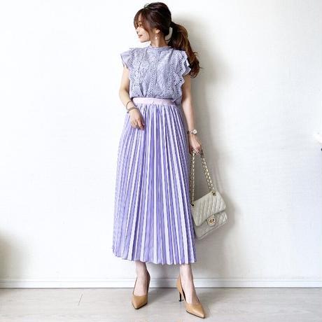 stripe pleats skirt〈lavender〉