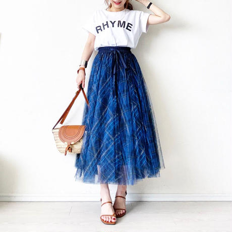 Check tulle skirt