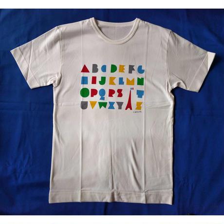 堀内誠一Tシャツ:「パリのアルファベット」Mサイズ