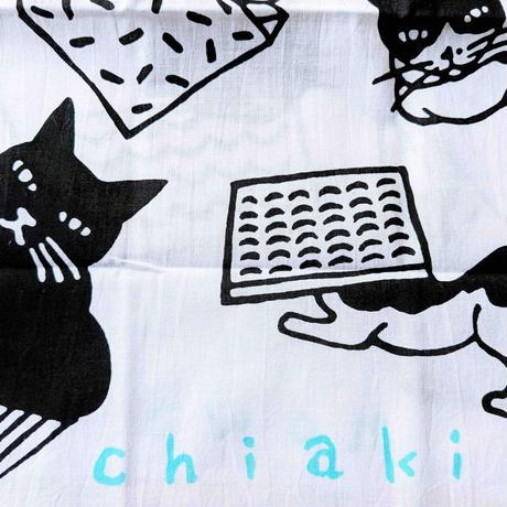 坂本千明「猫」手拭い(黒x水色)