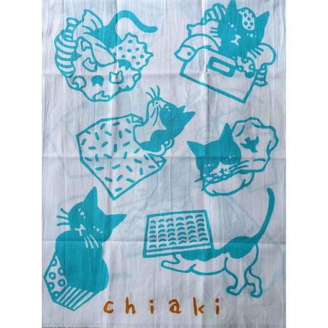 坂本千明「猫」手拭い(水色x金茶)
