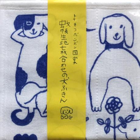 トラネコボンボン図案 蚊帳生地7枚合わせの布ふきん(cat・dog)