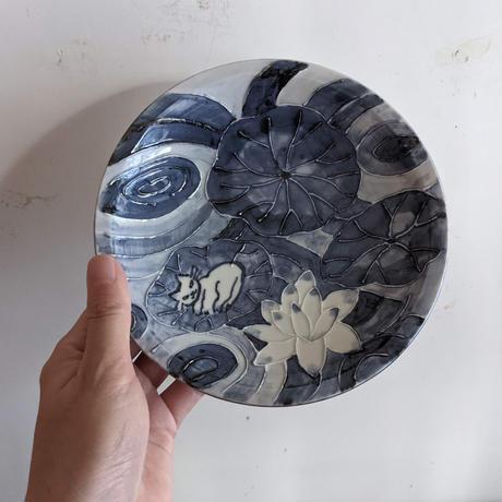 つじにぬき:猫皿(5寸)