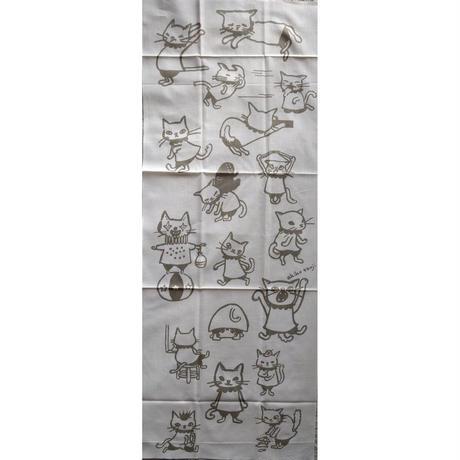 たんじあきこ手ぬぐい:猫柄(薄茶)