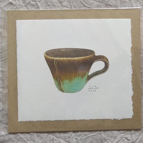 坂本千明紙版画:鈴木稔マグカップ