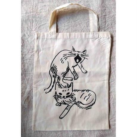 たんじあきこ:猫柄コットンバッグ