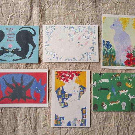 マルーポストカードセット6枚組:猫
