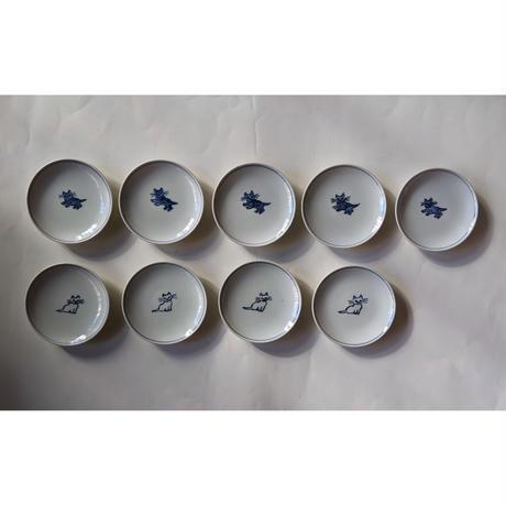 つじにぬき:猫豆皿(3寸)  白猫・黒猫