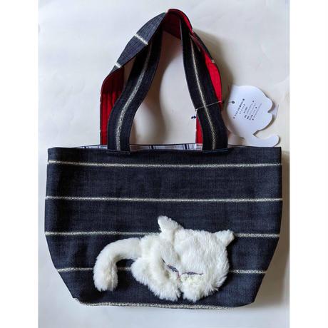 谷みゆき:ワンニャンバッグ26「たぶん100歳の白い猫」  トートバッグ