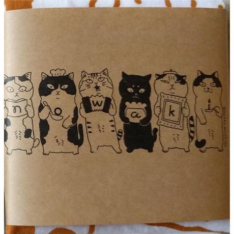 町田尚子「猫」手拭い(キャラメル+黄)