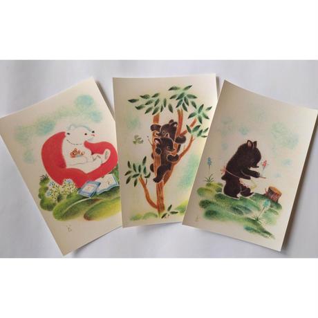 どいかや:動物ポストカード3種1組(しっぽ/くま/うさぎ)
