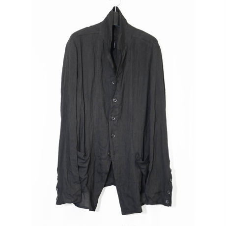NU-1403 Linen/Ramie Washer Shirt Jacket - BLACK