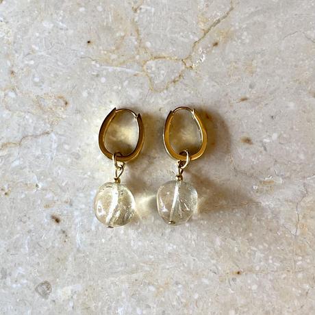 Clear stone hoop pierce