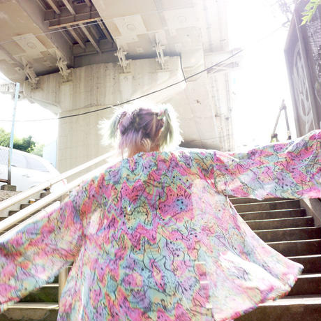RETRO MONSTER ALL OVER PRINT Chiffon Gown〈NZ005〉