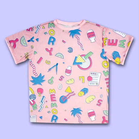 STATiONERY MEMORY ALL OVER PRINT T-Shirts〈NZ002-1〉